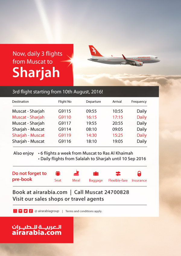 Now daily 3 flights from Muscat to Sharjah!