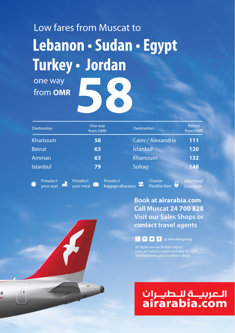 Low Fares From Muscat To Lebanon Sudan Egypt Turkey