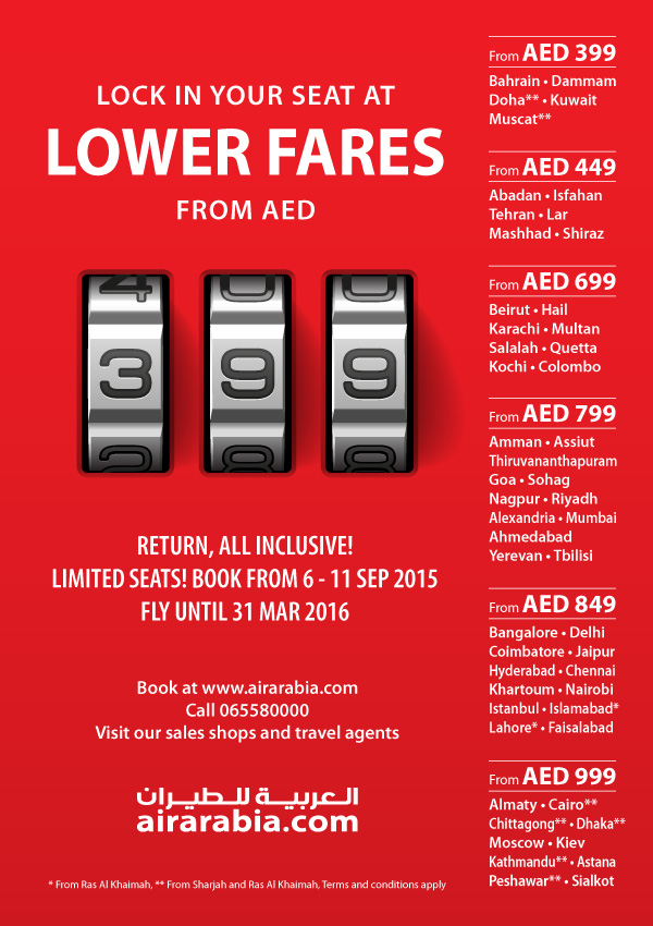 Lock in your seat at low fares: return from AED 399 all inclusive!