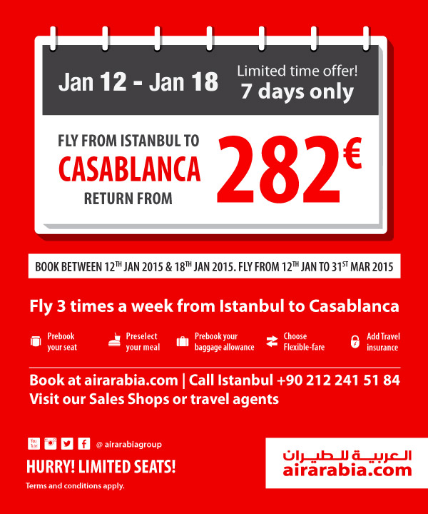 Fly from Istanbul to Casablanca return from 282 € all inclusive!