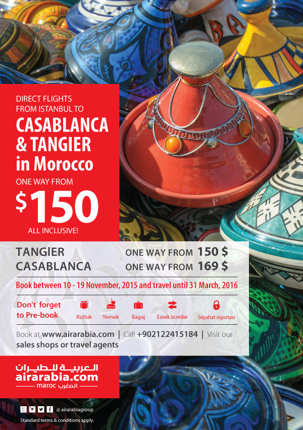 Direct flights from Istanbul to Casablanca & Tangier from $150 one way, all inclusive!