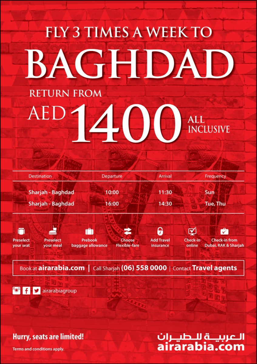 Fly 3 times a week from Sharjah to Baghdad