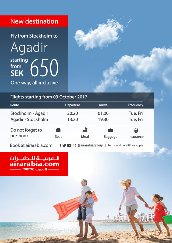 Fly from Stockholm to Agadir