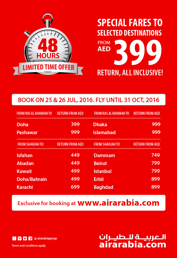 Special return fares to selected destinations from AED 399