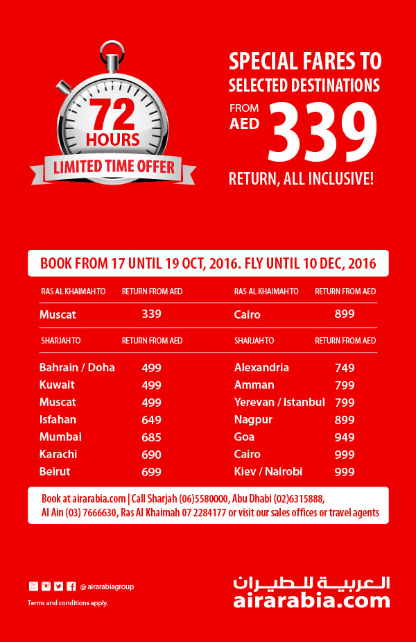 Special fares to Selected Destinations